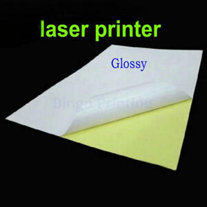 50 X A4 Self adhesive Glossy Surface Sticker For Laser Printer 210 X 297mm Blank