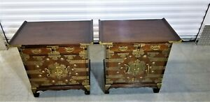 Vintage Korean Elm Tansu Wedding Chests Nightstands Accent Lamp Table Ex Cond