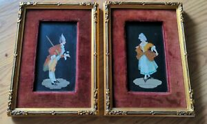 Pair Antique Pietra Dura Framed Plaques Courtly Man Woman Inlaid Stone