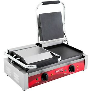 Avantco Double Commercial Panini Sandwich Grill With Smooth Plates 120v 3500w