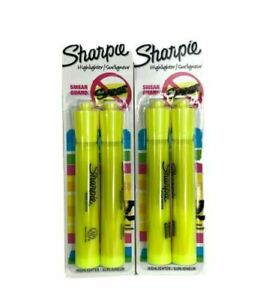 Lot Of 2 Sharpie Yellow Highlighter W Smear Guard 2pk Home Office School V2