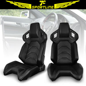 Universal Pair Reclinable Racing Seats Dual Sliders Carbon Pu Leather