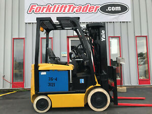 2014 Yale Erc050 Quad Mast 4400lb Cushion Tire Electric Forklift With Side Shift