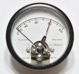 Vintage Assembly Products Fs 2 4 Volts Ac 70ma Locking Panel Meter Gauge Mod 255