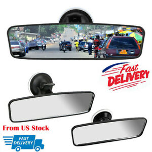 Universal Rear View Mirror Glass Suction Cup Stick On Interior Wide Car Truck