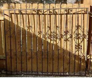 Antique Wrought Iron Fence Panel Victorian Ornate Fencing 7 Ft X 6 Ft Fence Gate