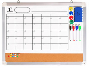 Whiteboard Monthly Wall Calendar Set 24 X 18 Inch Magnetic Dry Erase cork With