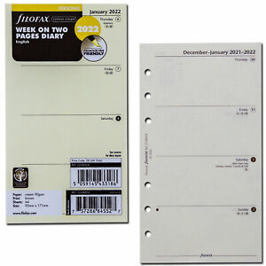2022 Filofax Personal Size Refill 22 68424 Cotton Cream Week On Two Pages