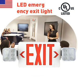 1 Pack Led Exit Sign Emergency Light hi Output Compact Combo Ul Listed red