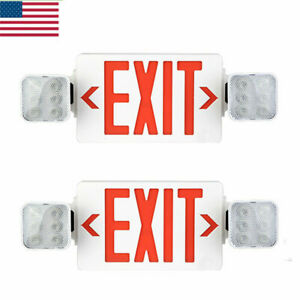 2 Pack Led Exit Sign Emergency Light hi Output Compact Combo Ul Listed red