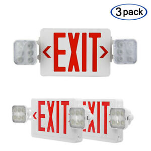 3 Pack Led Exit Sign Emergency Light hi Output Compact Combo Ul Listed red
