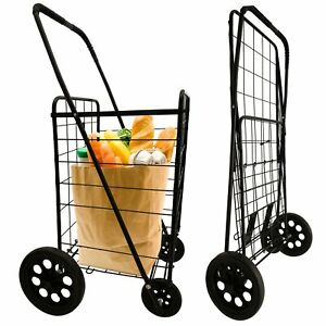 Folding All Purpose Utility Shopping Grocery Luggage Steel Frame Storage Cart