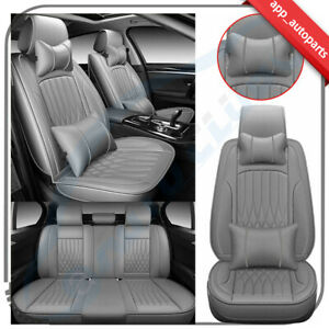 Pu Leather Interior Car Seat Covers Front Rear 5 Seats Car Suv Truck Full Set