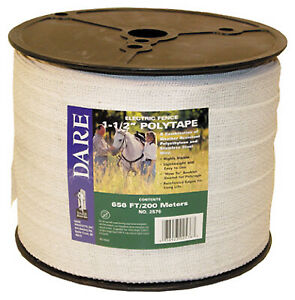 2576 Electric Fence Tape White Poly 15 wire Stainless Steel 1 5 in X