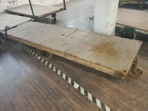 Lg Industrial Factory Warehouse Railroad Rr Cart Antique Old Table Steampunk Vtg