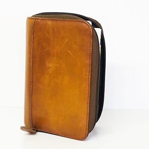 Day timer Planner Brown Leather 6 Ring Zip Binder With Extras