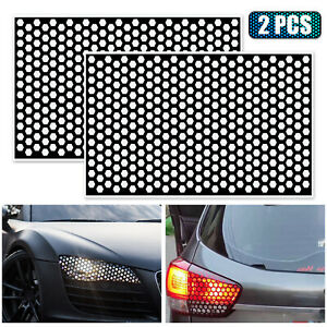 2x Car Rear Tail Light Cover Black Honeycomb Sticker Tail Lamp Decal Accessories