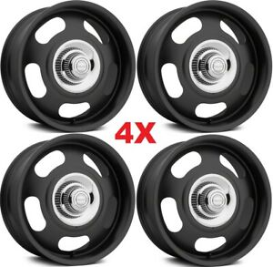 17 Rally Wheels Rims Alloy Mag American Racing Black Staggered 17x7 17x8