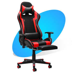 Gaming Chair Racing Ergonomic Recliner Office Swivel Leather Computer Desk Seat