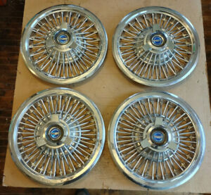 65 66 Ford Simulated Wire Wheel Covers Spinner Hub Caps Mustang Galaxie 15 Set