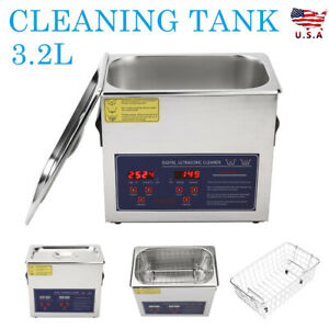 3 2l Digital Ultrasonic Cleaner Timer Heat Ultra Sonic Cleaning Stainless Tank