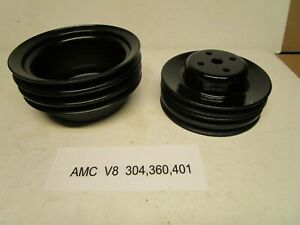 Amc V8 3 Groove Water Pump And Crankshaft Pulleys For A 304 360 401