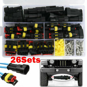 26 Sets Car Auto Electrical Wire Connector Plug 1 4 Pin Way Plug Kit Waterproof