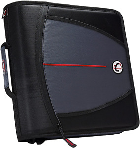 Case it The Mighty Zip Tab Zipper Binder 3 Inch O rings 5 Pocket Expanding F