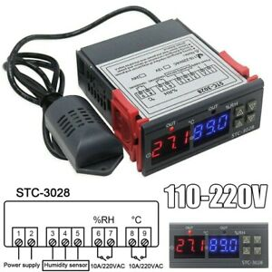 Stc 3028 Dual Led Temperature Humidity Controller Ac110 220v Digital Thermostat