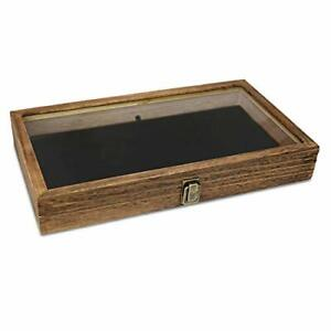Mooca Wood Glass Top Jewelry Display Case Wooden Jewelry Tray For Collectible