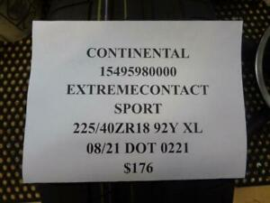 1 New Continental Extremecontact Sport 225 40 Zr18 92y Tires 15495980000