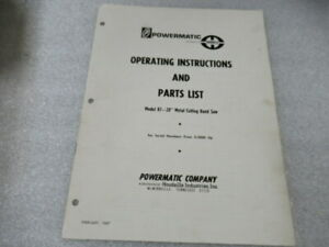 Pm199 1968 Powermatic 20 Band Saw Operating Instructions Parts List Manual