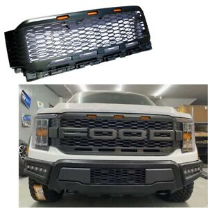 For 2021 Ford F150 Raptor Style Painted Gray Front Bumper Mess Grille W Led