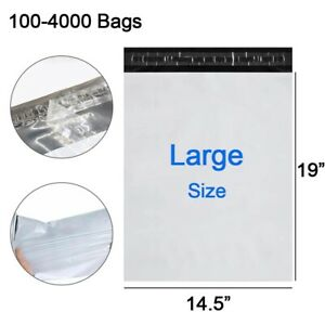 100 4000 Poly Mailers 14 5x19 Large Shipping Envelopes Self Sealing Mailing Bags