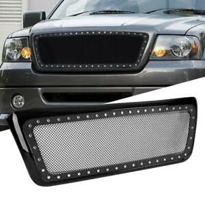 Stainless Steel Mesh Rivet Front Bumper Hood Grille Fits 2004 2008 Ford F 150