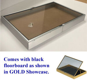 Portable Lot Of 2 Glass Jewelry Display Case Silver Showcase Made In The Usa New