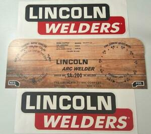 Lincoln Electric Arc Welders Sa 200 163 Woodgrain Decal wrap Plate Decals