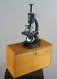 Vintage Kent Student Microscope In Wooden Box 150x To 750x Free Shipping