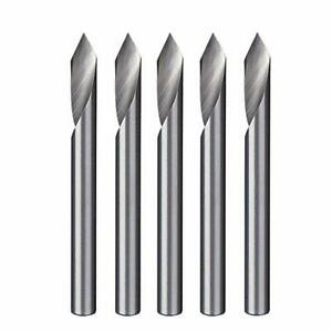 Spiral 60 Degree V Groove Engraving Tool Flat Bottom Cnc Router Bits 1 8 Inch
