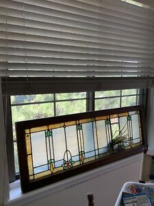 Antique Stained Glass Large Transom Window 52 X 18 Original Frame Ca 1910s