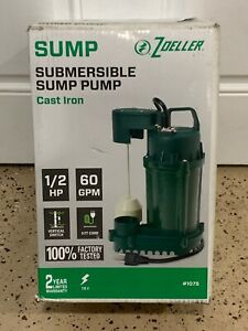 1075 Zoeller 1 2 Hp Cast Iron Submersible Sump Pump 115v 60 Gpm W float New
