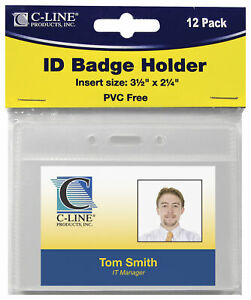 C line Id Badge Holder Horizontal 3 1 2 X 2 1 4 Inches Pack Of 12