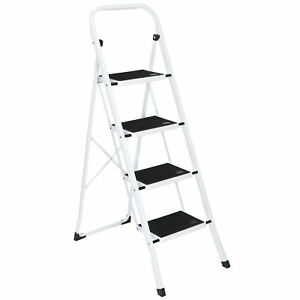 4 Steps Ladder Folding Anti slip Safety Tread Industrial Home Use 300lbs Load
