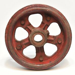 Vintage Industrial Nutting Large Red Cast Iron Caster Wheel With Rubber Tread