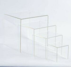 Acrylic Display Nesting 4 6 8 10 Inch Square Clear 16 Risers 16pieces
