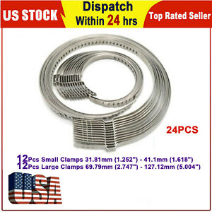 24pcs Universal Adjustable Axle Cv Joint Boot Crimp Clamps Small Large Kits