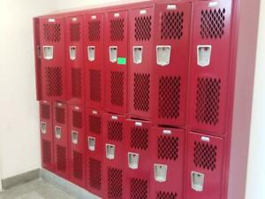 School Gym Lockers Vented 12x12x72 Banks Of Red Or Blue