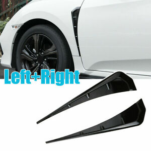 2pcs Universal Glossy Black Car Exterior Side Fender Vent Air Wing Cover Trim