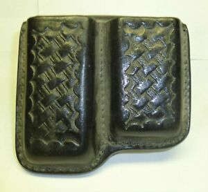 Leather Magazine Double Speed Pouch Black Basket Weave
