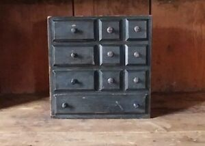 Antique Spice Chest Wood Apothecary Case Of Drawers Black Paint Aafa